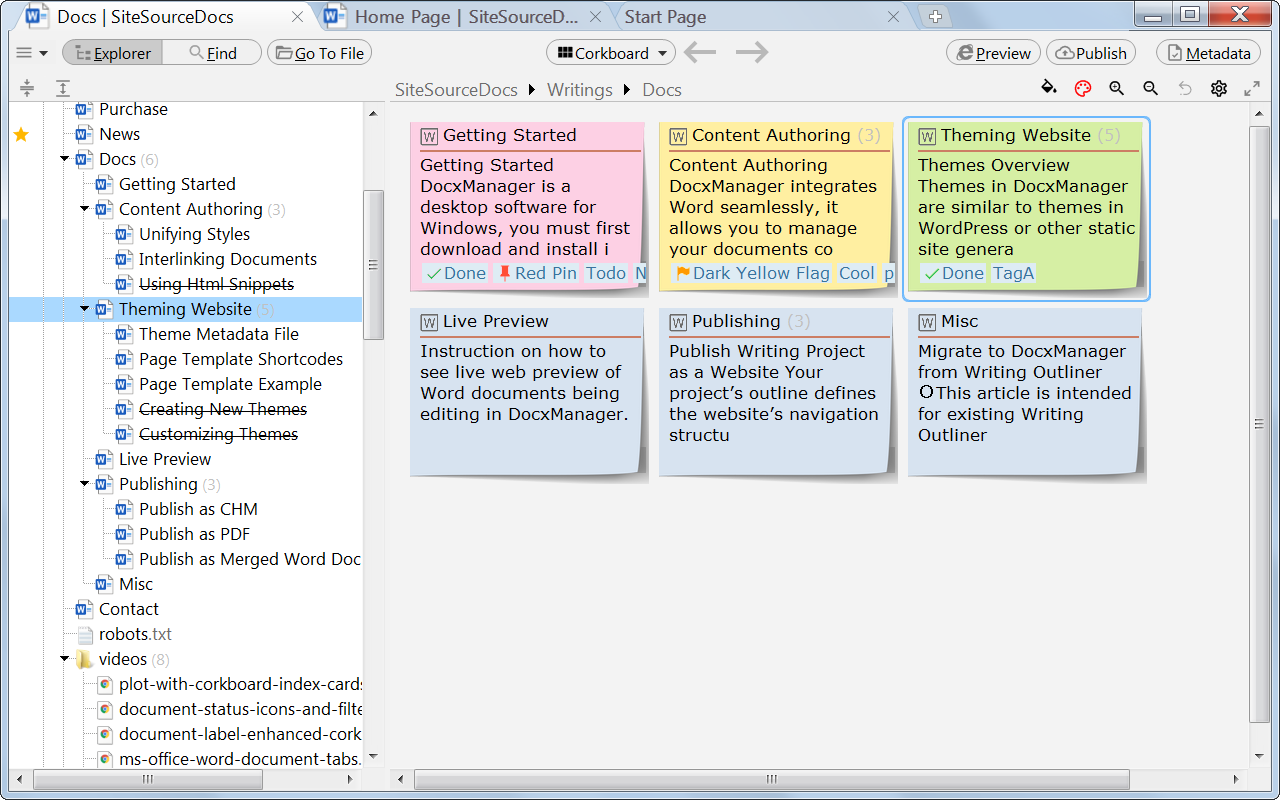Organize writing
